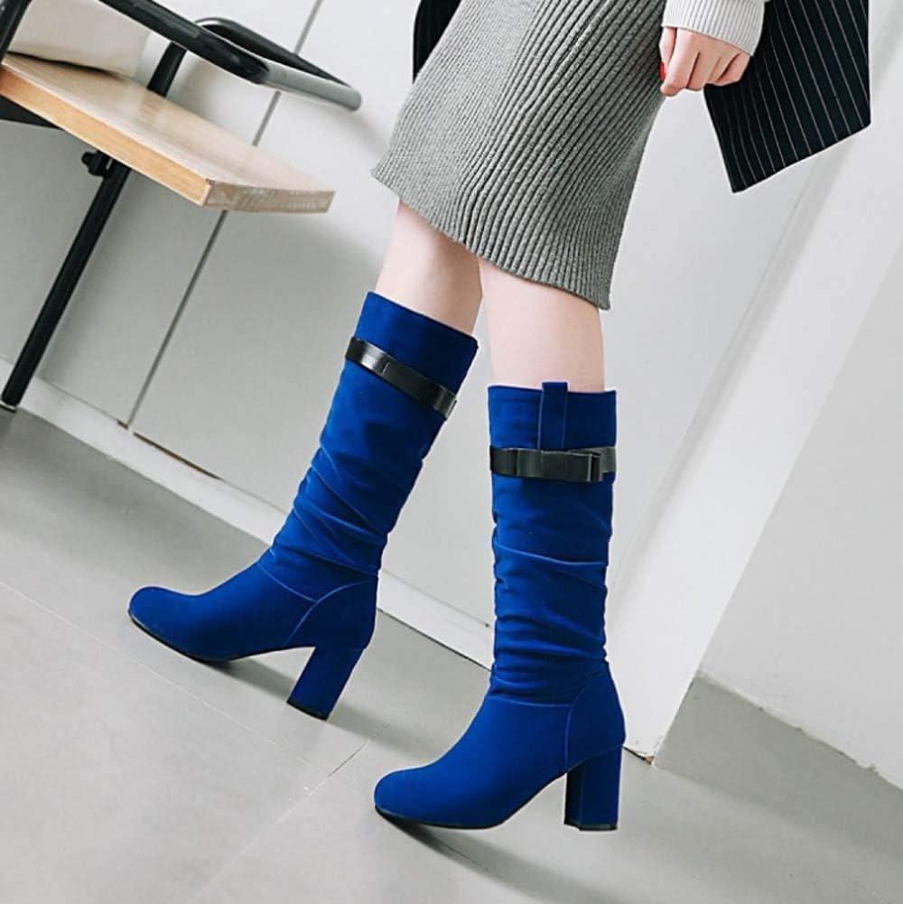 Womens Kitten Heels Boots Mid Calf Knee high Zipper Buckle Slouchy Shoes Winter Strappy Martin Booties,Blue,35EU