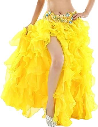 YuanDian Mujer Profesional Color Sólido Danza del Vientre Alta ...