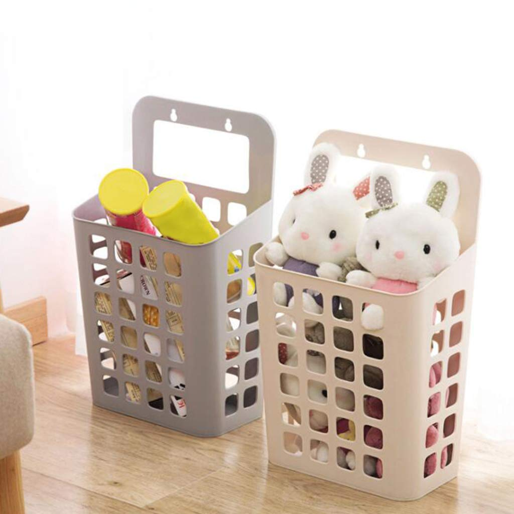 Homyl 2pcs beige hanging laundry hamper clothes storage basket with handle to carry wall mounted container