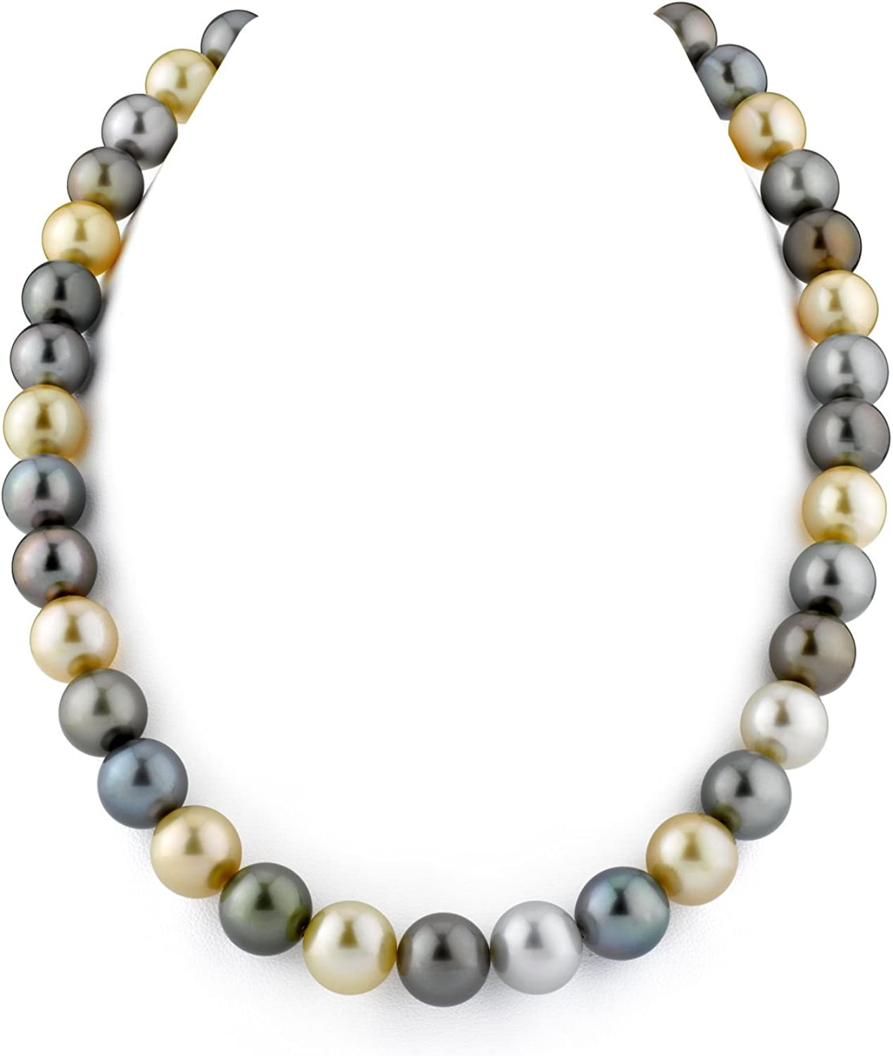 THE PEARL SOURCE 14K Gold Round White Freshwater Cultured Pearl Necklace /& Earrings Set in 17 Princess Length for Women