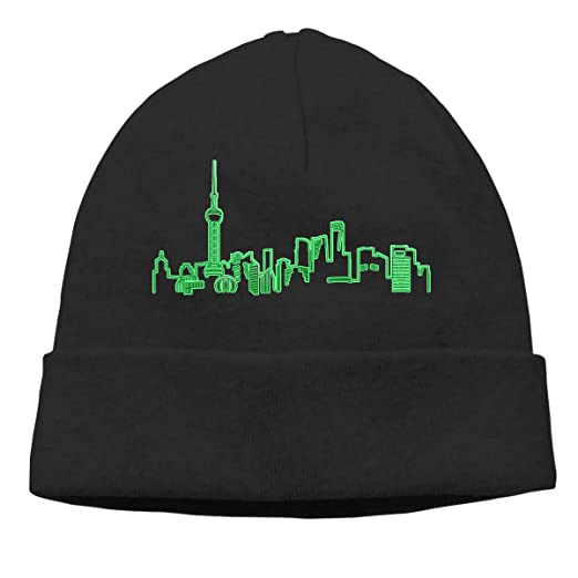Chinese City Shanghai Beanie Hat Cute Toboggan Hat Winter Hats Skull Cap  Beanies for Men and Women at Amazon Men s Clothing store  9c785572ba53