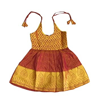 ef2b0f9995b2 Amazon.com: Pattu Pavadai New Born Baby Silk Frock Brown for Kids ...