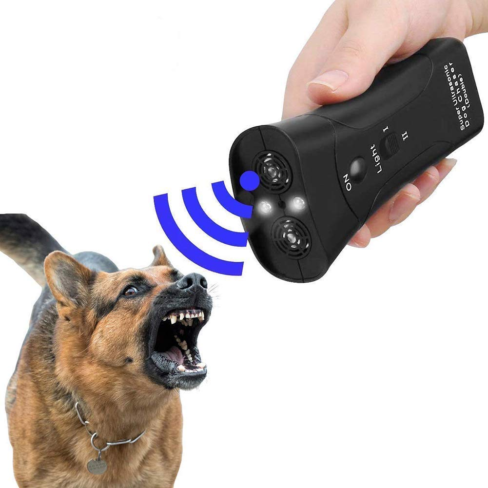 LanBaiLan Ultrasonic Anti Dog Barking Pet Trainer Handheld LED Flashlight Light Dual Channel 3 in 1 Dog Trainer Tool Gentle Chaser Petgentle Style by LanBaiLan