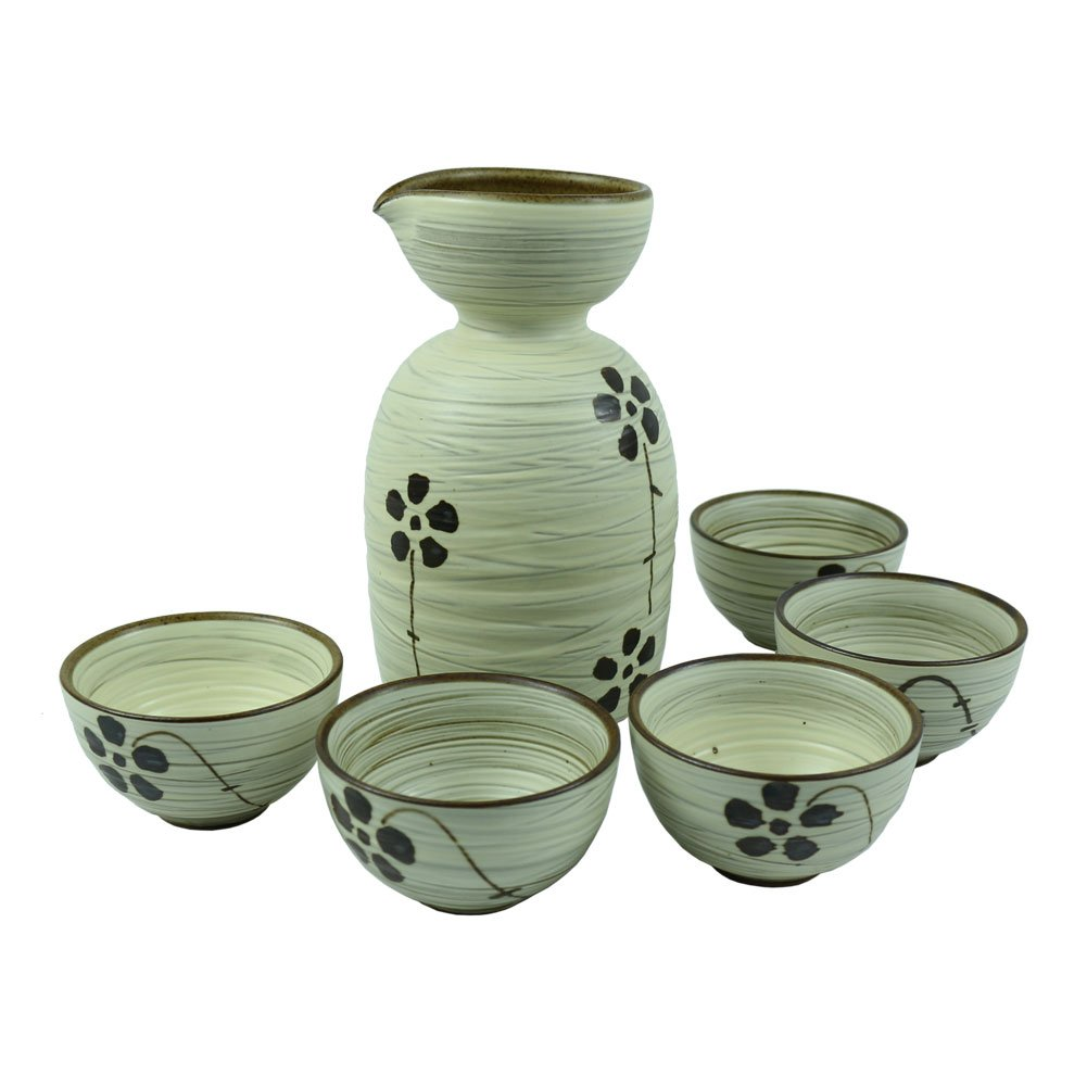 Set of 6, Handmade Ceramic Pottery Porcelain Traditional Sake Serving Gift Set Wine Cold Sake Set (5 Cups with 1 Bottle)