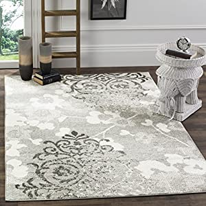 Safavieh Adirondack Collection ADR114B Silver and Ivory Contemporary Glam Damask Area Rug (8