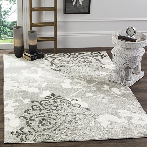 Safavieh Adirondack Collection ADR114B Silver and Ivory Contemporary Chic Damask Area Rug (10' x 14') (X 10 14 Rugs Area)