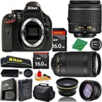 Great Value Bundle for D5200 DSLR – 18-55mm AF-P + 70-300mm AF-P + 2PCS 16GB Memory + Wide Angle + Telephoto Lens + Case