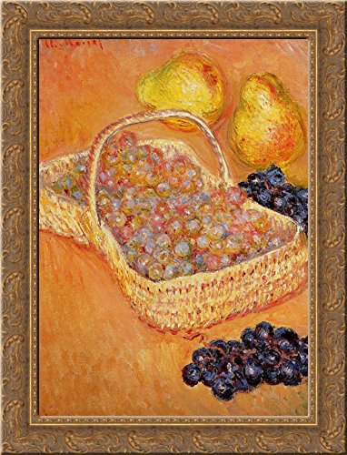 Basket of Graphes, Quinces and Pears 20x24 Gold Ornate Wood Framed Canvas Art by Monet, Claude