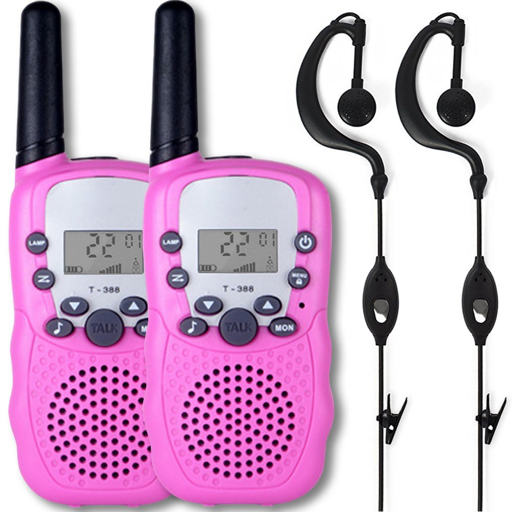 Afantti Walkie Talkies Kids Girls Adults Two Way Radios Toddler Little Kids Birthday Gift Toy | 2+ Mile Long Range | Flashlight | 2 X Earpiece | 3 - 12 Year Old Age, Pink