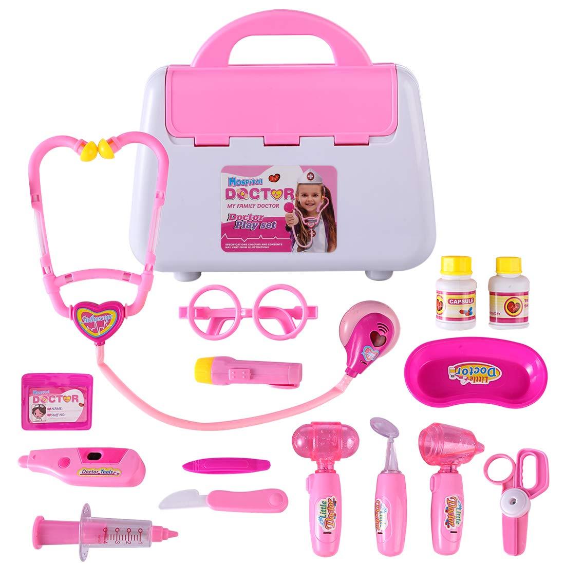 LDB SHOP 15 Stück Emulational Spielzeug Kit Doktor Stethoskop Arzt Arztkoffer Arzt Spielzeug Kinderarztkoffer Medizinische Kit für Kinder - Blau