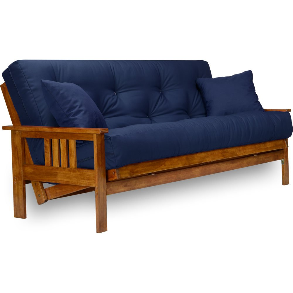 Stanford Futon Set - Full Size Futon Frame with Mattress Included (8 Inch Thick Mattress, Twill Navy Blue Color), More Colors Available, Heavy Duty Wood, Popular Sofa Bed Choice by Nirvana Futons