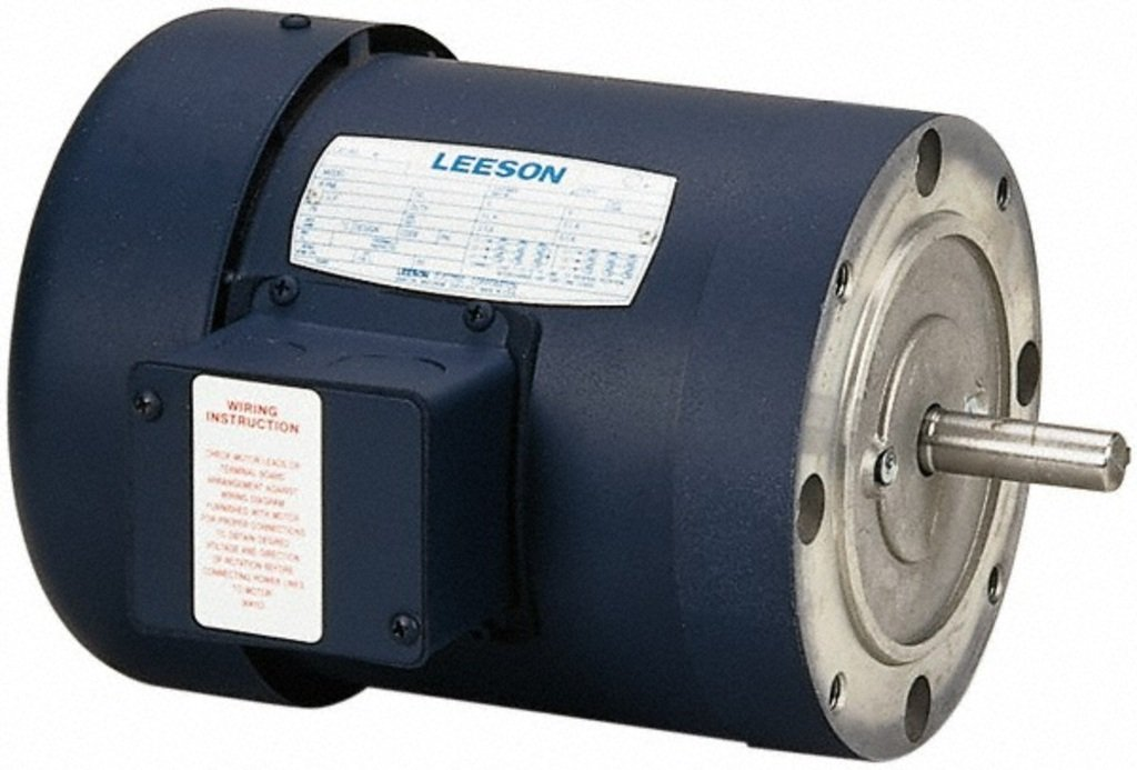 Leeson 110047.00 General Purpose C Face Motor, 3 Phase, 56 C Frame, Round Mounting, 3/4HP, 1800 RPM, 208-230/460V Voltage, 60Hz Fequency