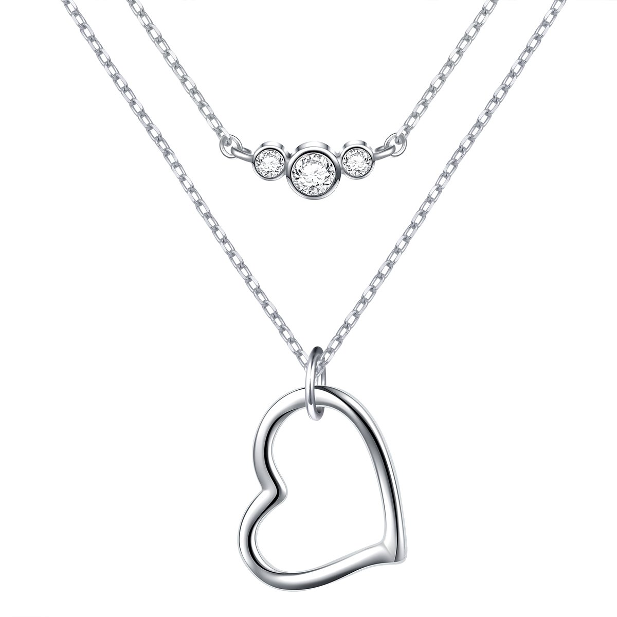 0fb3f672bb2f9 S925 Sterling Silver Double Layered Chain Choker Y Lariat Necklace Gifts  for Women Girls,16+2 inches