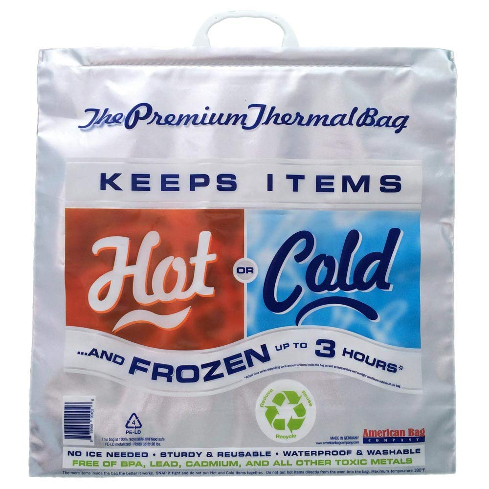 Hot Cold Bag | Insulated Thermal Cooler Grocery Size Red/Blue