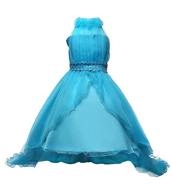 Happy Cherry - Falda de Ceremonia para Niñas Vestido Asimétrico para Boda Fiesta Bautizo Cintura de