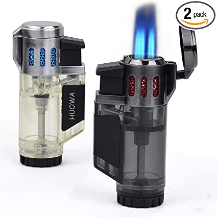 Fuel Visible Triple Jet Flame Butane Torch Cigar Lighter Windproof Refillable Gas Lighter Charcoal 2 Pack Gas Not Included Zoocura Torch Lighter