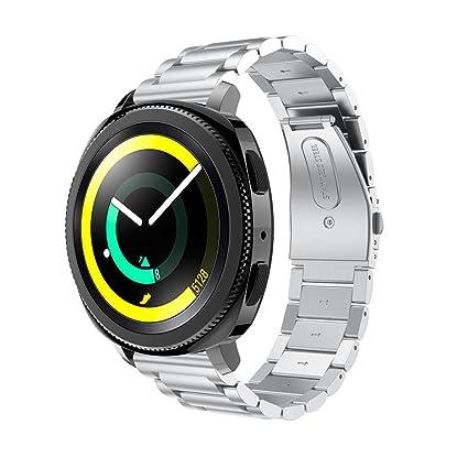☀️Modaworld Pulsera de Acero Inoxidable Correa de Reloj Inteligente Banda Muñequera para Samsung Gear Sport
