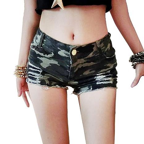 e55b50d06dbfc2 Wgwioo Camicie Femminili di Denim Femminili Scamosciati Mini Short  Pantaloni Womens Nightclub Clubwear Camouflage Tagliato A