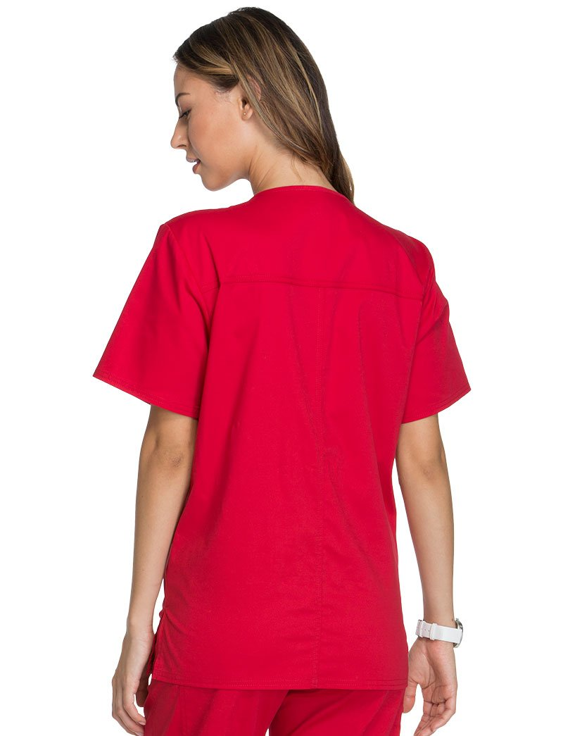 Cherokee Core Stretch Workwear Unisex V-Neck Solid Scrub Top Medium Red by Cherokee (Image #3)