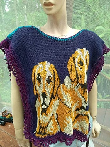 Women's poncho style sweater with labrador retriever dogs, cotton knit One of a Kind by NellieLaan
