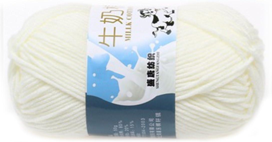 rongwen Suave Suave Leche de algodón Natural de la Mano de Tejer Lana de Lana Bola del Hilado del bebé Craft-White