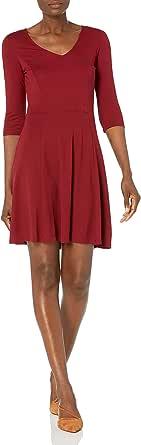 Lark & Ro Women's 3/4 Sleeve V-Neck Fit and Flare Dress