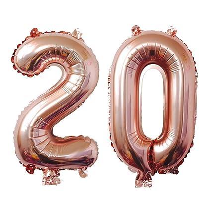 Meowoo Globo de Cumpleaños 20 Globo de Papel de Aluminio Globo Grande 100cm 40 Pulgada Fiesta de cumpleaños Suministros Decoración(Oro Rosa Num 20)