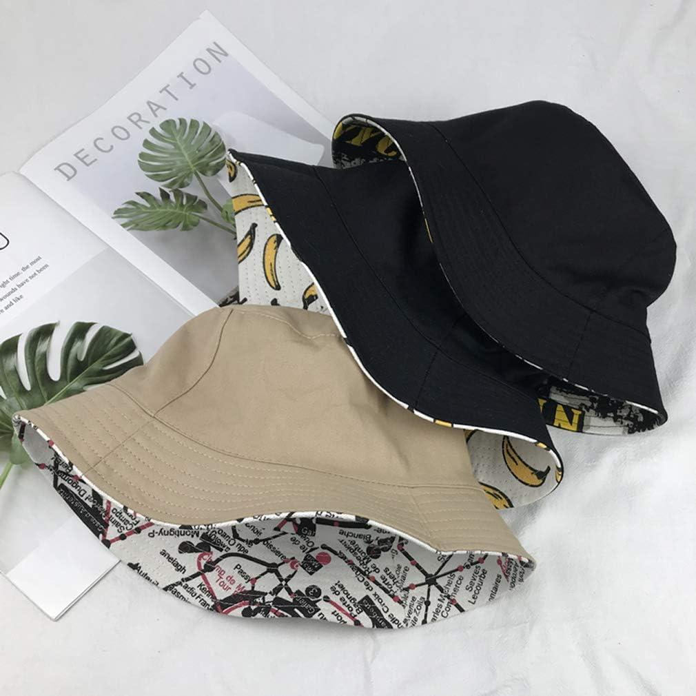 XUEBAOBAO Hombre Mujer Pareja Outdoor Cap Canvas Doble Cara Retro Sombrero Verano impresi/ón Banana Pescador Hat Sun Hat Visera Funky Vacaciones Travel Holiday Beach Bucket Hat