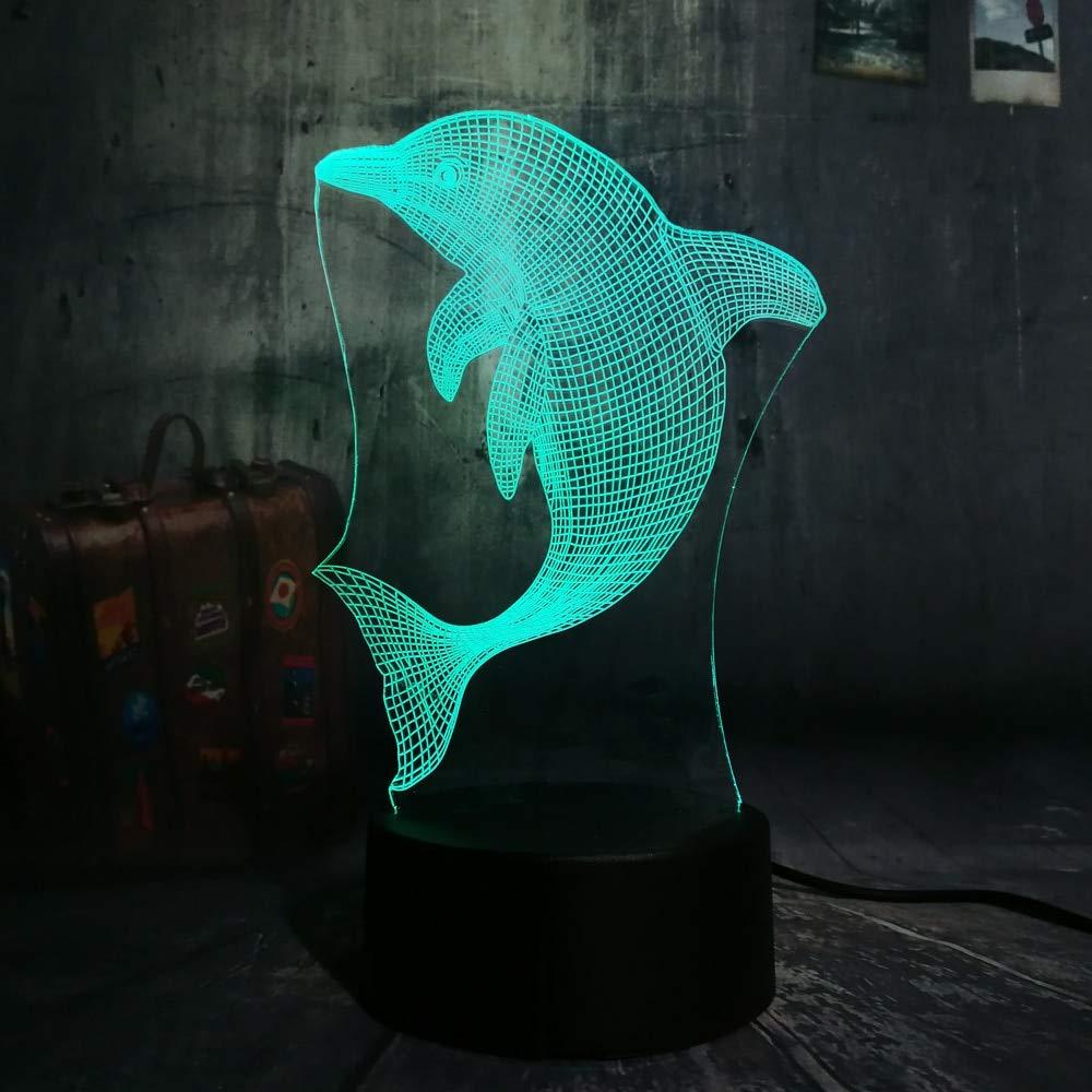 Nuevo Regalo de Navidad para niños Salto Lindo Delfín 3D LED Luz ...