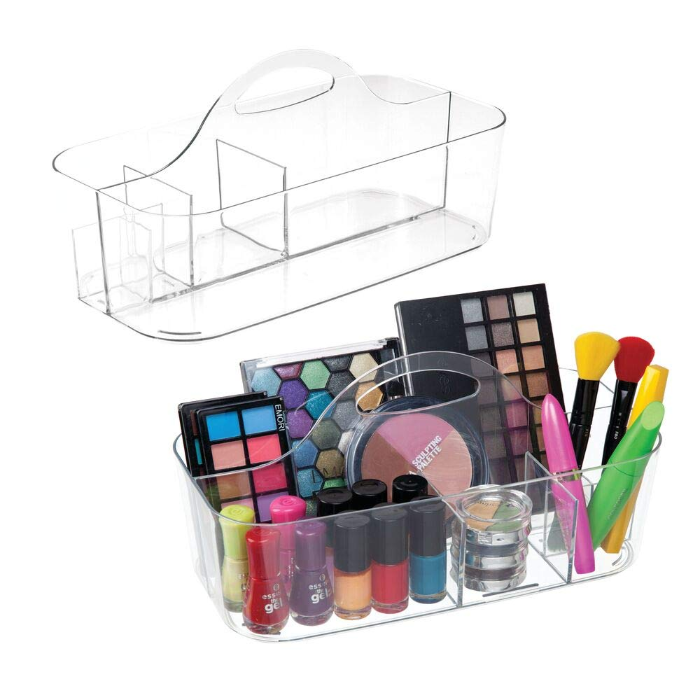 mDesign Plastic Makeup Storage Organizer Caddy Tote – Divided Basket Bin, Handle for Eyeshadow Palettes, Nail Polish, Makeup Brushes, Cosmetic and Shower Essentials – Large – 2 Pack – Clear