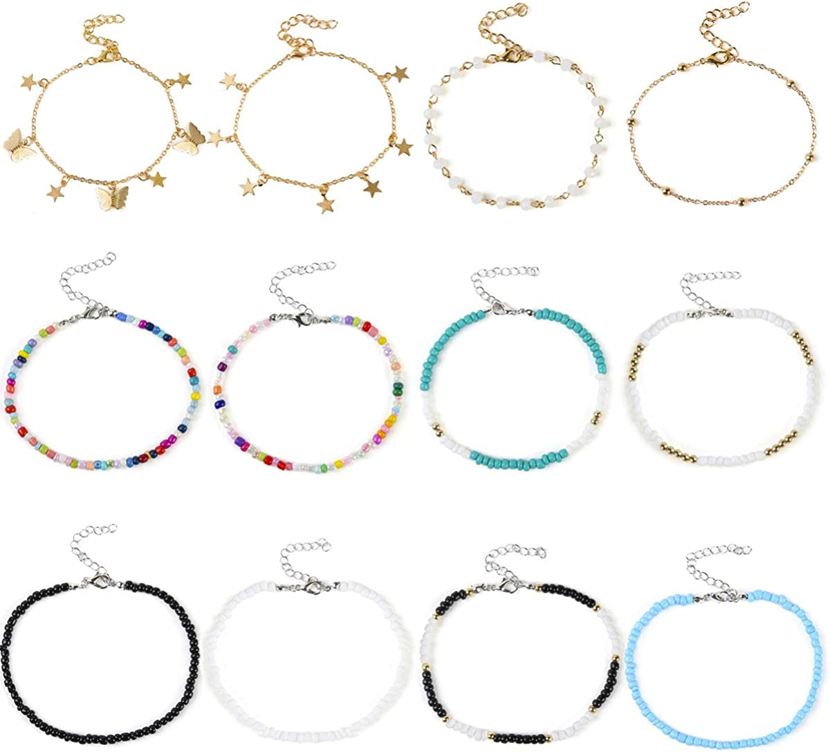 Beach Anklet Bracelet for Women Seed Beaded Anklet Adjustable Gold Charm Chain Anklet Butterfly Star Anklet Foot Jewelry for Summer 12 Pcs