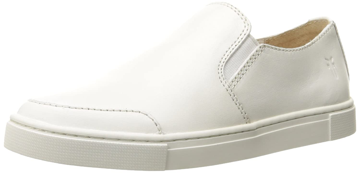 FRYE Women's Gemma Slip Fashion Sneaker, White Leather, 9 M US