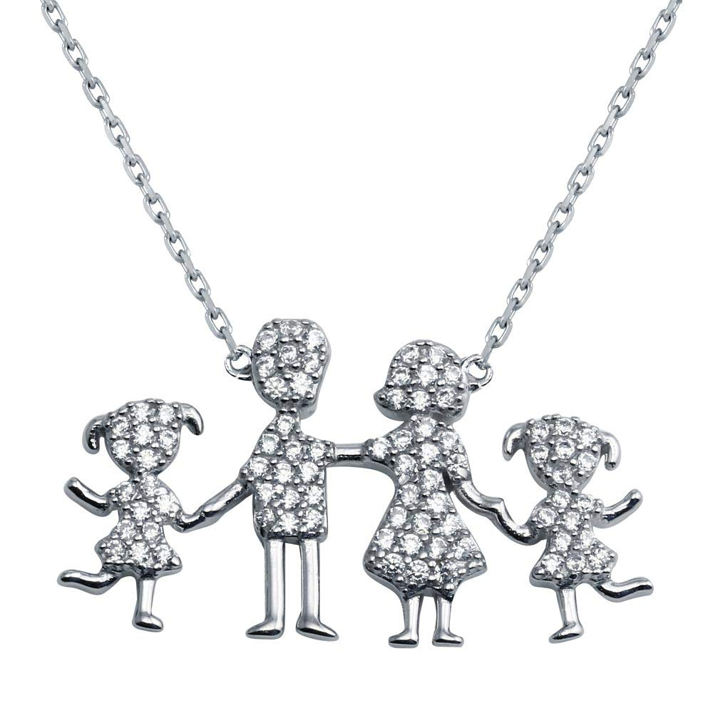 CloseoutWarehouse Clear Cubic Zirconia Happy Family Necklace Sterling Silver