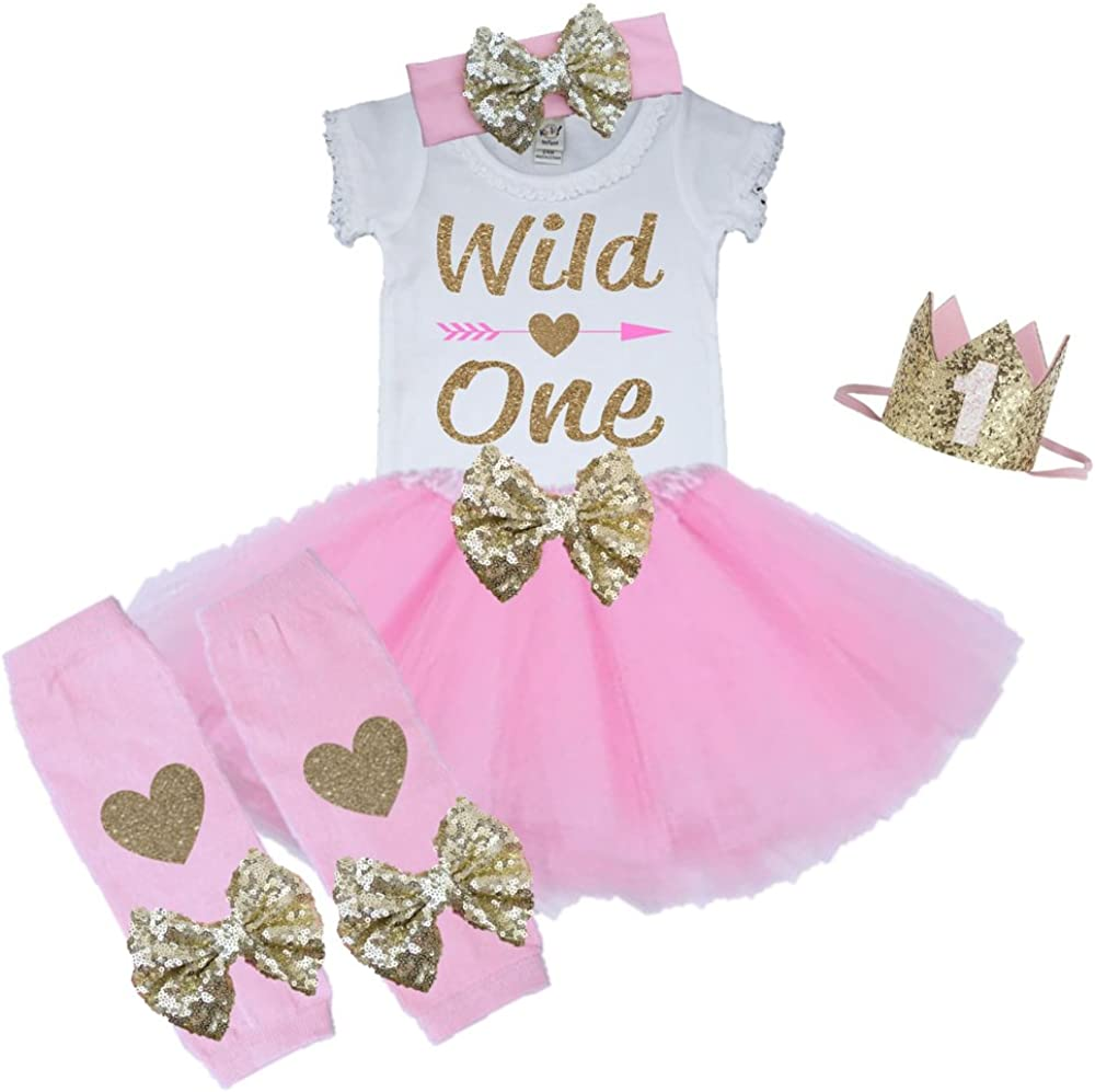 Girls 1st Birthday Outfit Gold Wild One Pink Peach or Purple Tutu Gold Bow 3 Piece Set WILDONE-TUTUS-PAR
