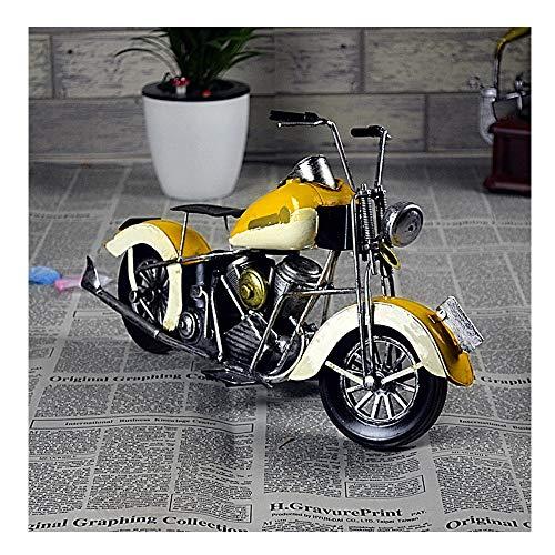 AXROAD MALL Adornos de Modelo de Motocicleta de Hierro Forjado Vintage, version Exquisita de decoracion de Barra de hogar Decoracion de Escritorio de Personalidad (Color : Yellow)