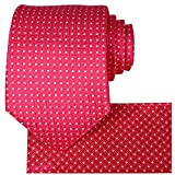 KissTies Fushia Pink Necktie Set Plaid Wedding Tie + Handkerchief + Gift Box