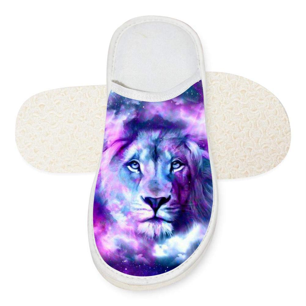 Adult Unisex Lion Drawing Customized Indoor Slippers for Men Women White