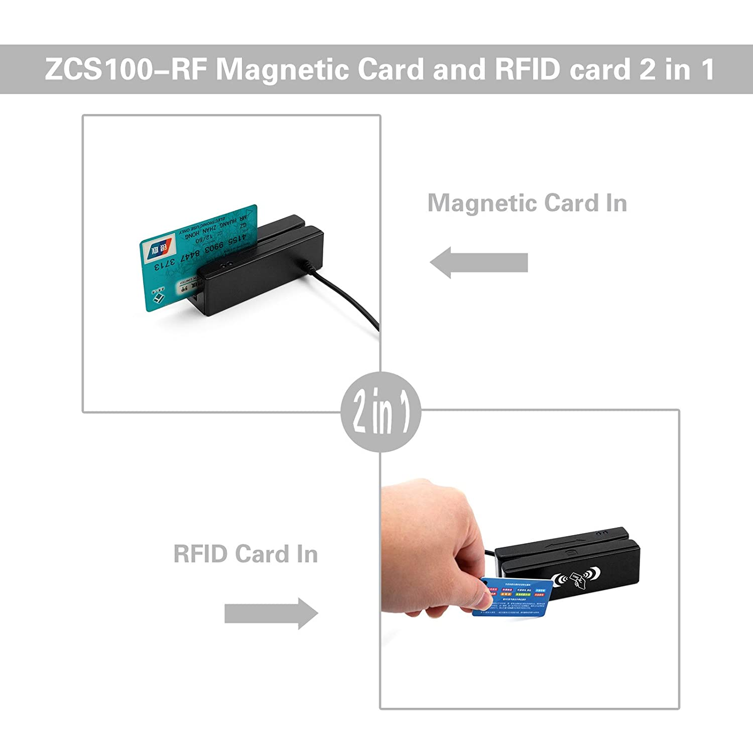 Magnetic Stripe Wiring Diagram Zcs100 Rf 2 In 1 Usb All 3 Track Card Reader Rfid Writer With Free Sdk Demo Computers Accessories