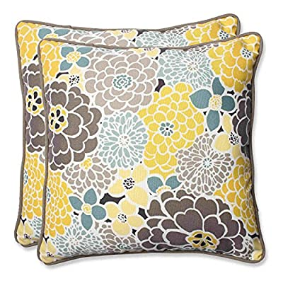 Pillow Perfect Outdoor Full Bloom Throw Pillow, 18.5-Inch, Set of 2 - Includes two (2) outdoor pillows, resists weather and fading in sunlight; Suitable for indoor and outdoor use Plush Fill - 100-percent polyester fiber filling Edges of outdoor pillows are trimmed with matching fabric and cord to sit perfectly on your outdoor patio furniture - patio, outdoor-throw-pillows, outdoor-decor - 61wnR9Z%2BRZL. SS400  -