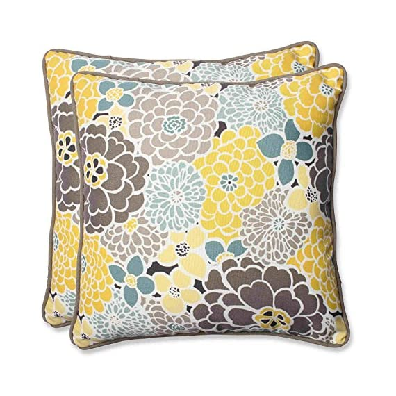 Pillow Perfect Outdoor Full Bloom Throw Pillow, 18.5-Inch, Set of 2 - Includes two (2) outdoor pillows, resists weather and fading in sunlight; Suitable for indoor and outdoor use Plush Fill - 100-percent polyester fiber filling Edges of outdoor pillows are trimmed with matching fabric and cord to sit perfectly on your outdoor patio furniture - patio, outdoor-throw-pillows, outdoor-decor - 61wnR9Z%2BRZL. SS570  -