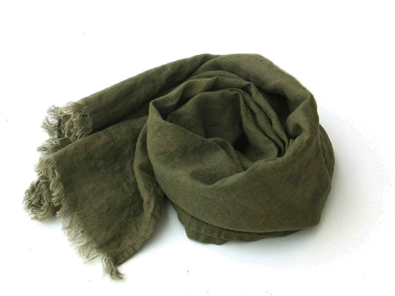 Extra Long Khaki Linen Scarf for Men and Women