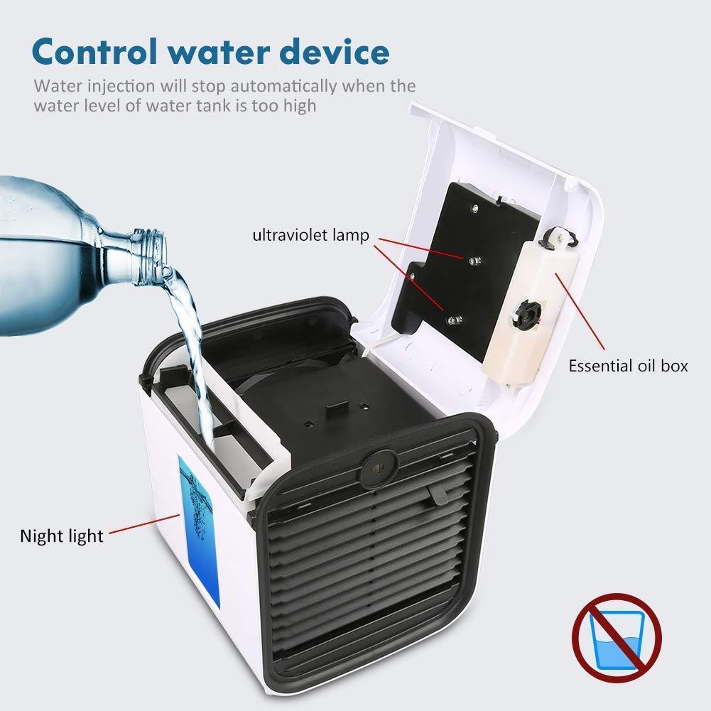 Avec batterie Mini Refroidisseur Dair Petit Climatiseur Ventilateur portatif USB 3 Vitesses Refroidisseur Humidificateur Purificateur Dair Personnel 7 LED