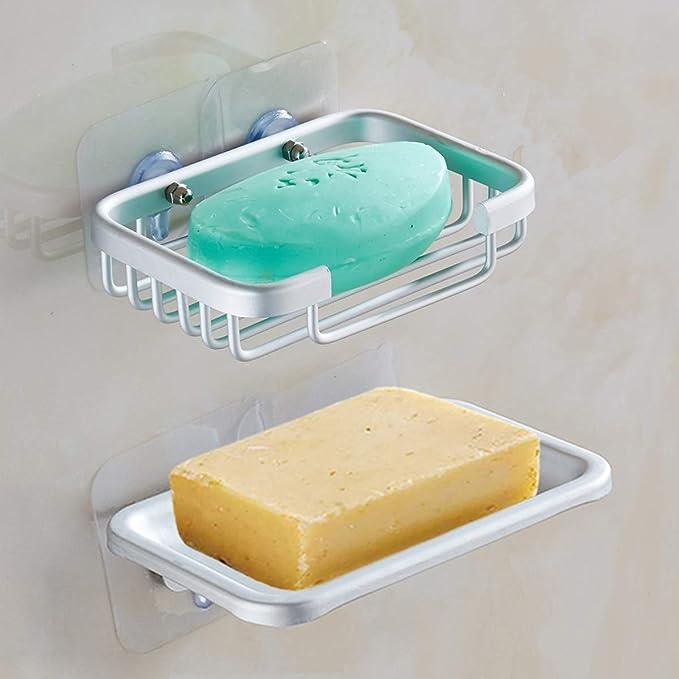 Yeegout Jabonera Adhesiva de Aluminio, sin Perforaciones Soporte de Pared para jabón para Ducha, 2 Unidades: Amazon.es: Hogar
