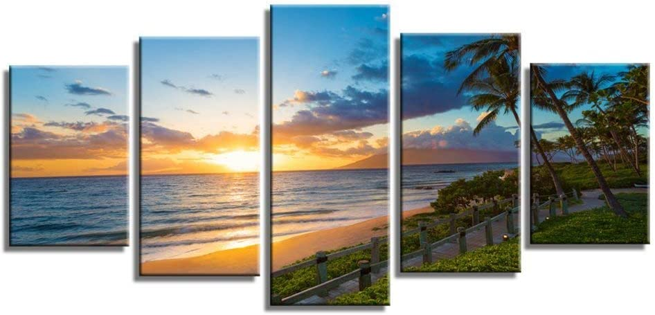 Wailea Beach Sea Sunset Palm Trees Wave Nature Scenery Canvas Wall Art Poster Prints on Canvas in 5 Panels Modern Home Office Living Room Decor, Stretched-Ready to Hang