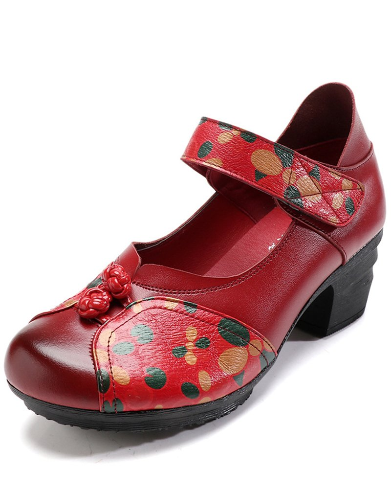 Women's Soft Real Leather Comfortable Round Toe Mid Heel Mary Jane Shoes B07CYN462C 6.5 M US|Style 4 Red
