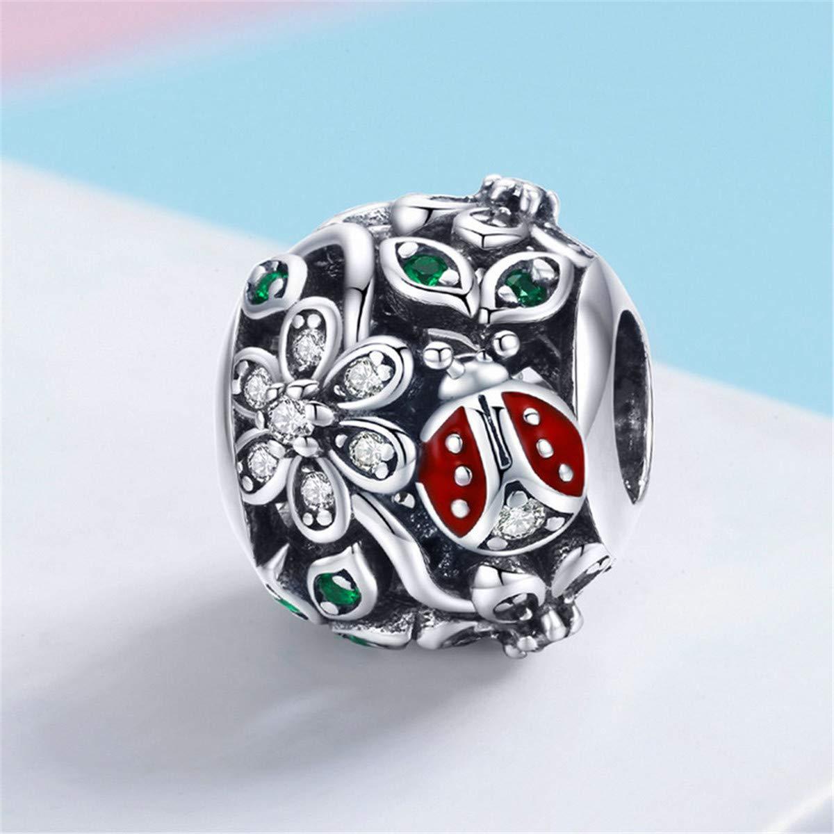 Inbeaut 100/% Argent sterling 925/Mode Rouge Coccinelle Fleur Wonderland Oxyde de zircon Charms Fit Bracelets Bracelets Bijoux