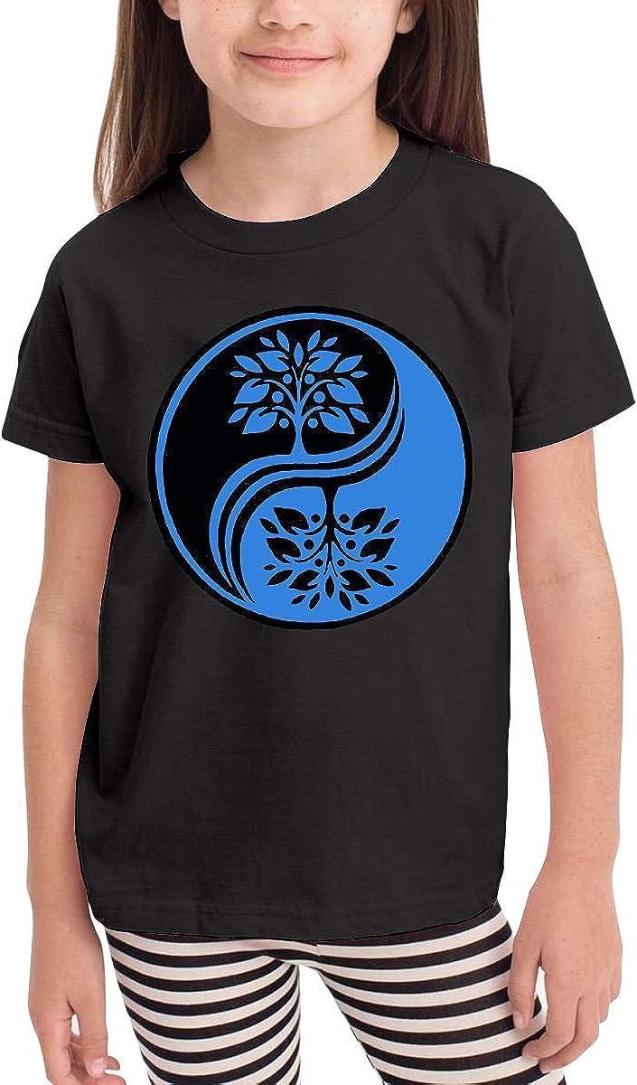 2-6T Short Sleeve Japanese Bonsai Tree in Yin Yang T-Shirts for Girls Ruffled Tunic Tops