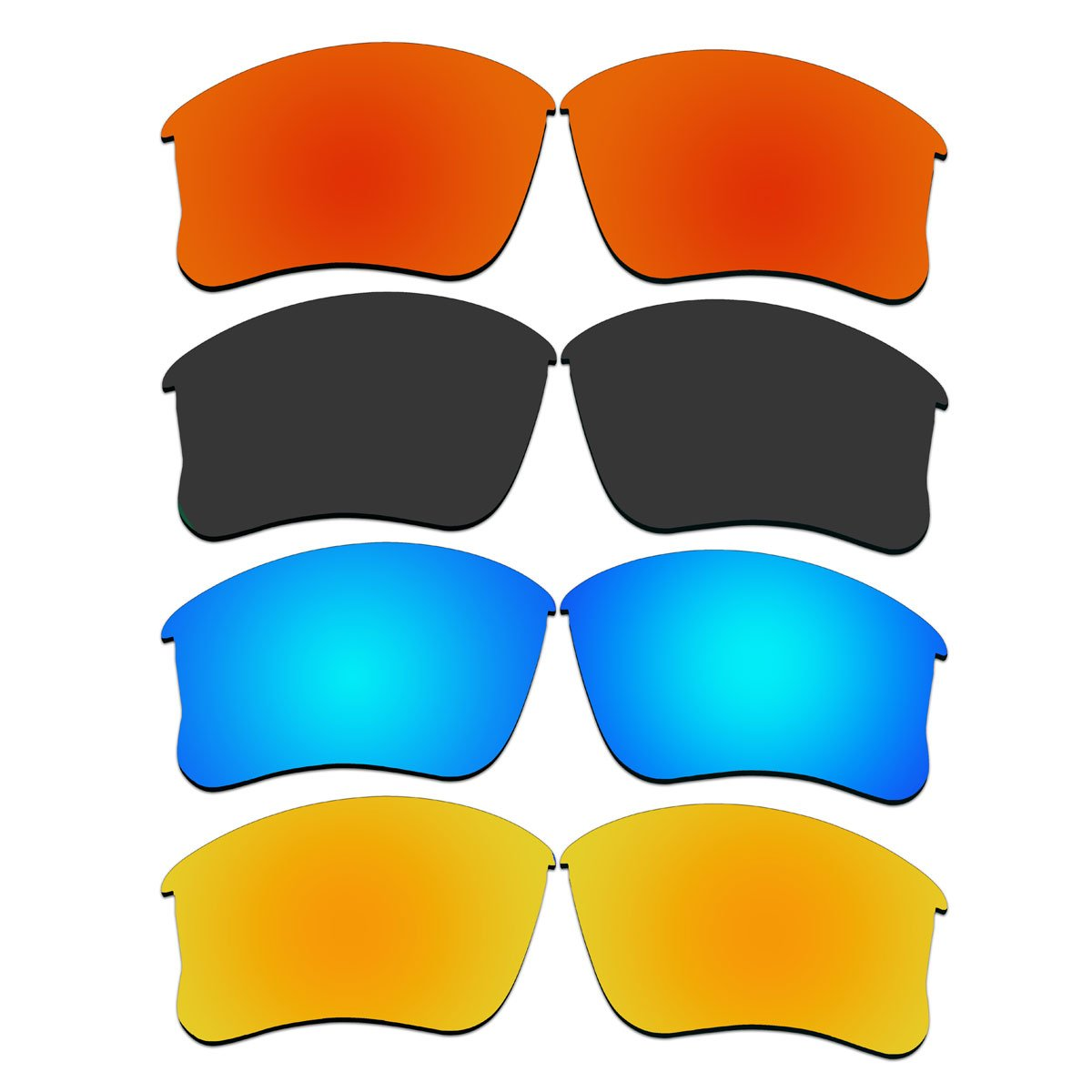 4 Pair Replacement Lenses for Oakley Flak Jacket XLJ Sunglasses With Polarized Pack P9-1 by ACOMPATIBLE