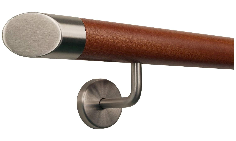 Mahagoni Gel/änder Handlauf Treppe Holz Griff gewinkelte Edelstahlhalter Enden =Halbkugel gefr/äst L/änge 30-500 cm aus einem St/ück//zum Beispiel L/änge 350 cm mit 5 gewinkelte Halter