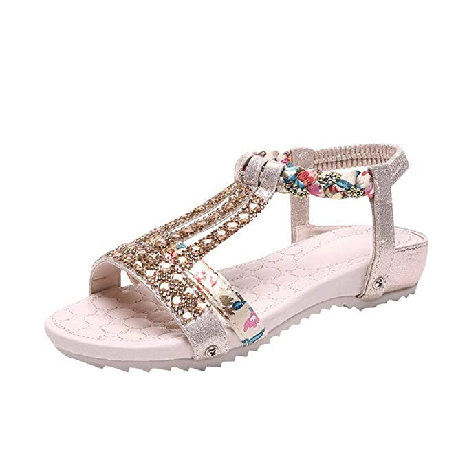 f5f85ea11ace Sandals Women's Ladies Summer Crystal Bling Flat Bohemia Beach Shoes Roman